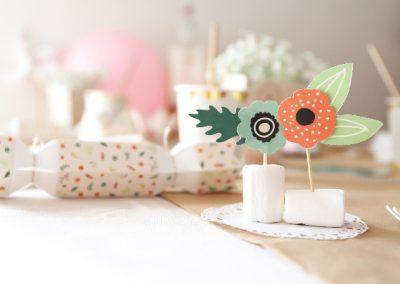 déco bohème, fleurs, crackers, boite cadeau, fleuri