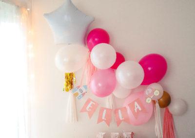 guirlande ballons princesse fanions prénom