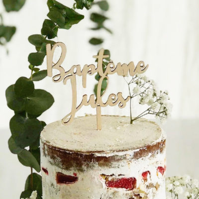 Cake topper bois personnalisé
