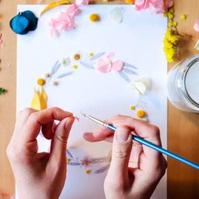 Kit DIY Illustration couronne de fleurs