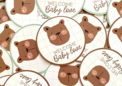 stickers ronds personnalisés oursons